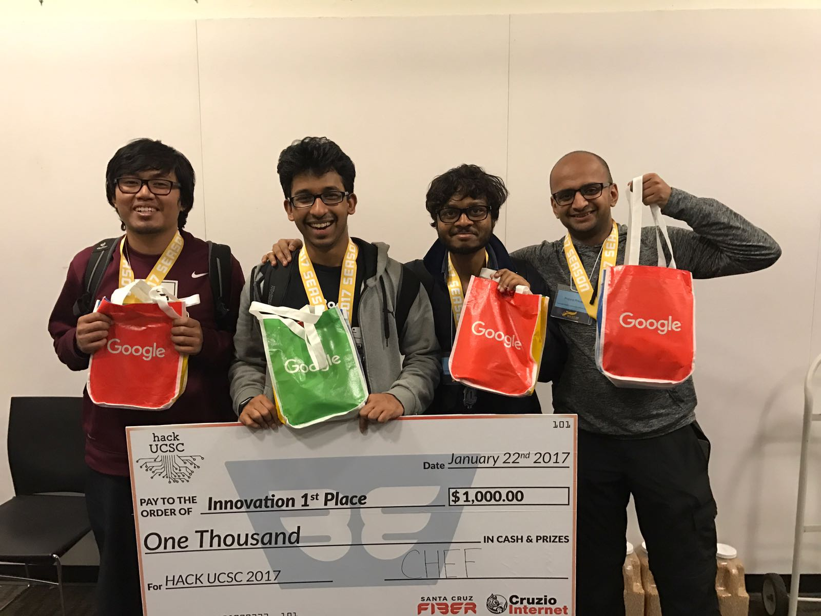 CMU-SV team takes first prize at UCSC Hackathon by developing virtual waiter team photo