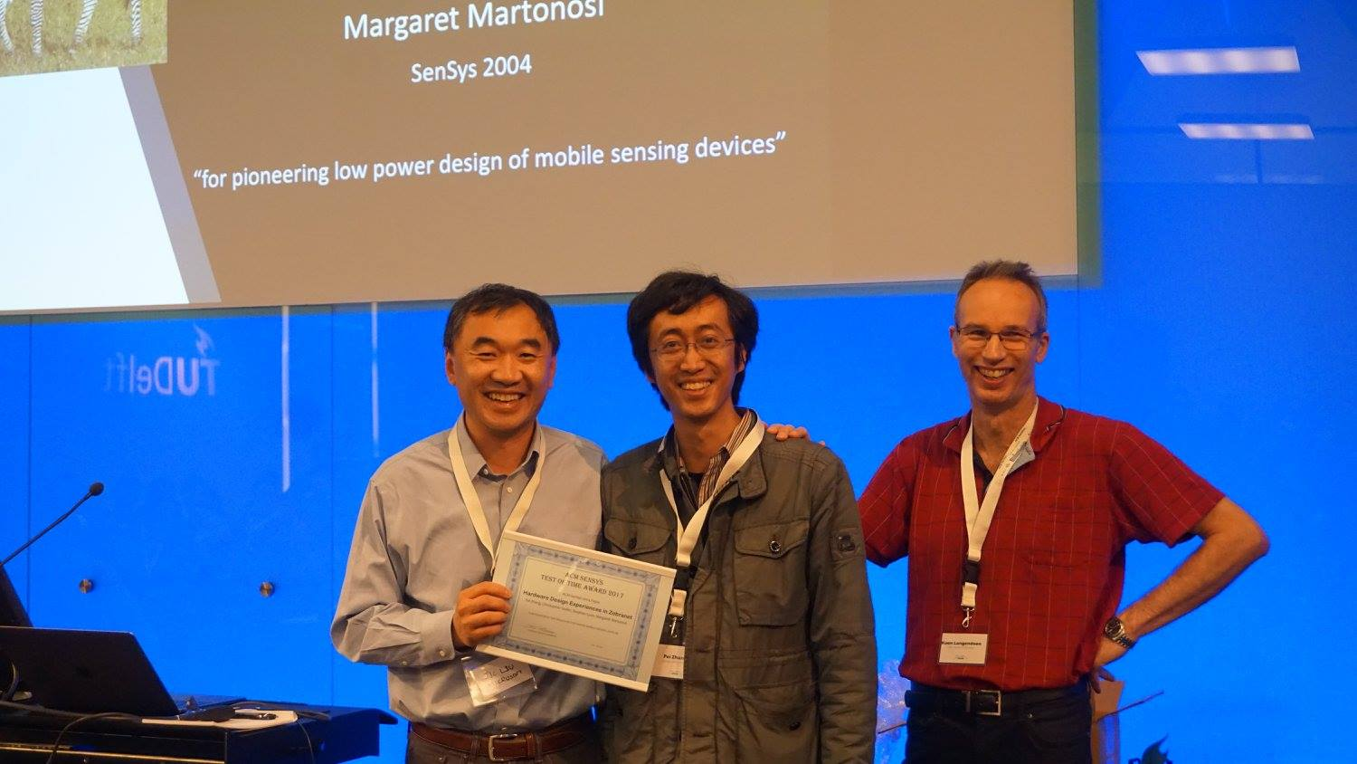 Pei Zhang  receives the ACM SenSys Test of Time Award (ToTA)