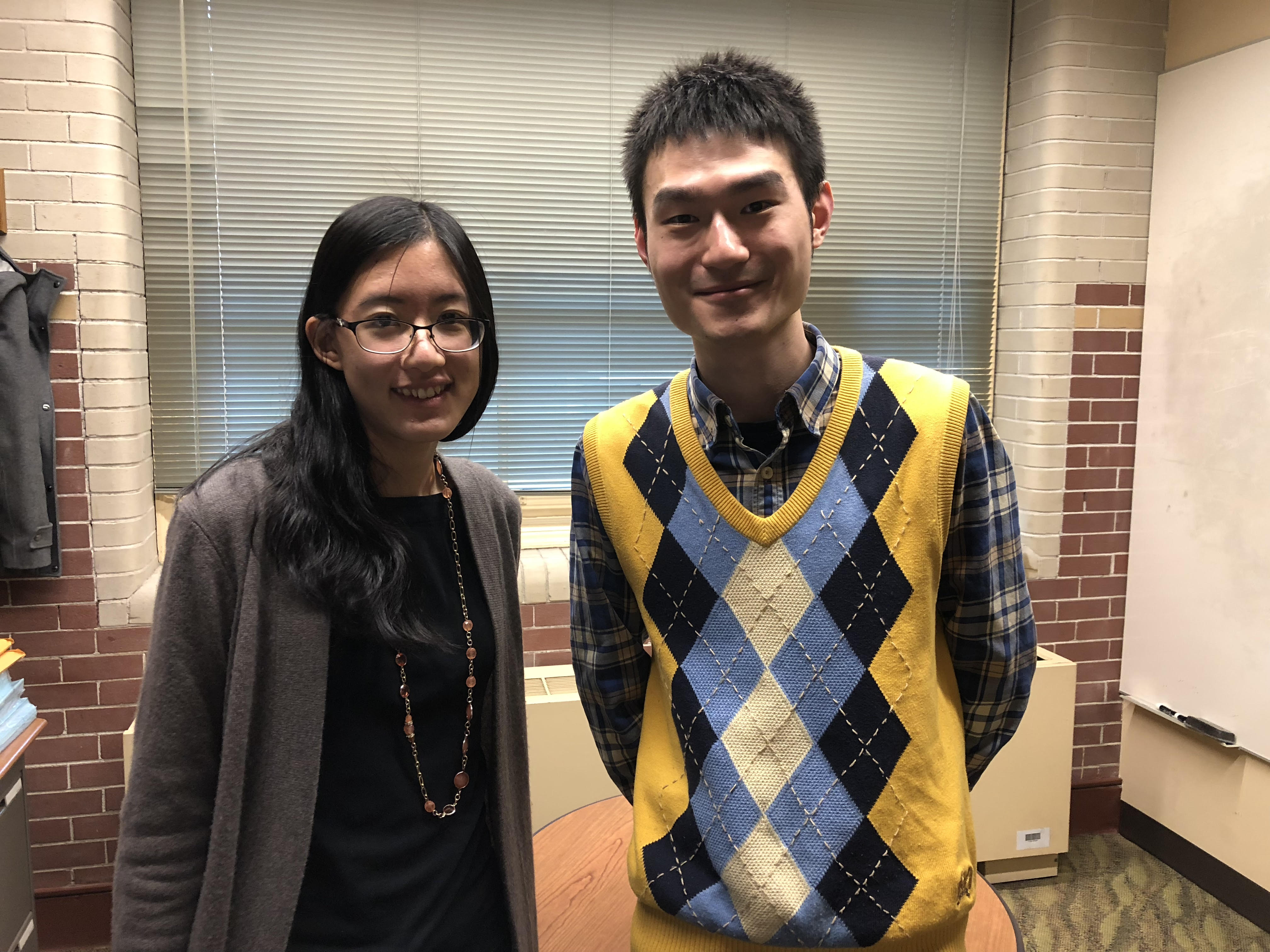 Joe-Wong poses with Jiang in her office